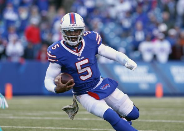 New York Jets vs. Buffalo Bills Bold Predictions -   Tyrod Taylor Has Big Game -   Nov 8, 2015; Orchard Park, NY, USA; Buffalo Bills quarterback Tyrod Taylor (5) runs the ball during the second half against the Miami Dolphins at Ralph Wilson Stadium. Buffalo beats Miami 33 to 17. Mandatory Credit: Timothy T. Ludwig-USA TODAY Sports