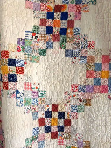 Vintage Handmade 1930s Triple Irish Chain Quilt Postage Stamp Feedsack Antique