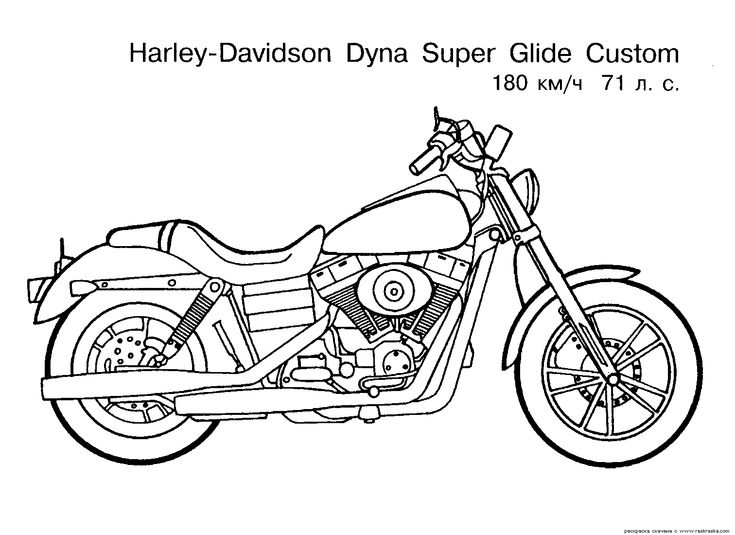 Free Motorcycle coloring page, letscoloringpages.com