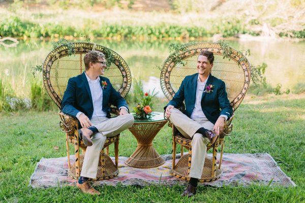 Boho grooms in rustic peacock chairs    #wedding #weddingday #aislesociety #married