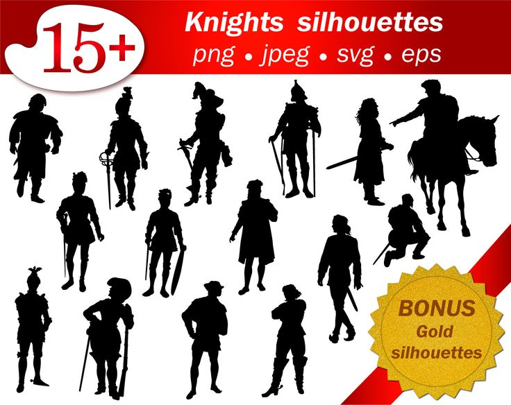 Set of 15 medieval knight silhouettes. Png, svg, jpeg, eps. Editable. Gold glitter silhouettes. Scrapbooking, clip art, party, fairy tale. by GecleeArtStudio on Etsy