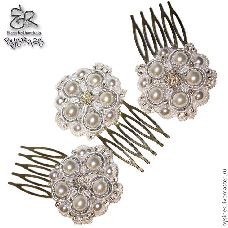 """Купить Гребни для волос """"WeddingFlower"""" - белый, серебряный, гребень для волос, гребень с цветами, свадебные аксессуары"""