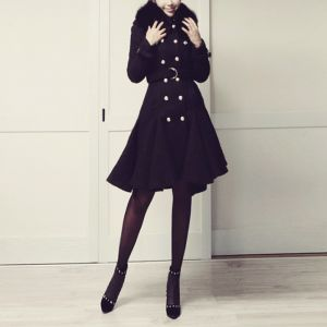 Double-breasted Mermaid line coat_Black and White