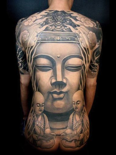 """Full back Buddha tattoo design - All we can say about this one is """"wow"""".  This guy must have spent months in the chair to finish this one…"""