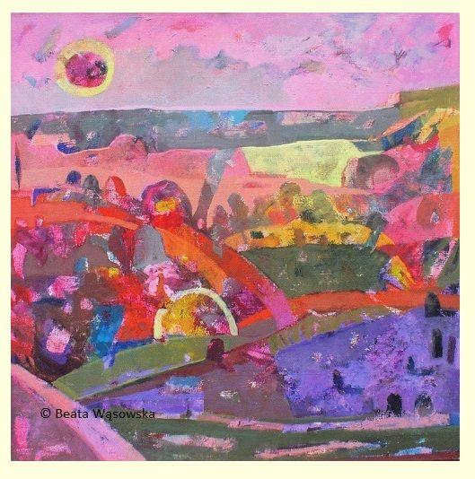 Beata Wąsowska, malarstwo Słońce w aureoli, 80x80cm, olej na płótnie nr kat. 24-87 [2004] #art  #womensart #polishart #malarstwo #malarstwoPolskie #krajobraz #malarstwoKobiet