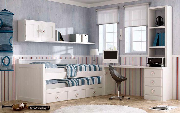 Cama compacto cajones ideal para ni os invitados o - Dormitorios juveniles para dos hermanos ...