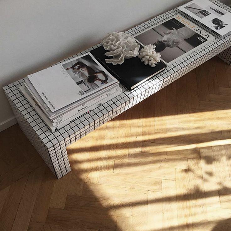 DIY tiled mosaic bench