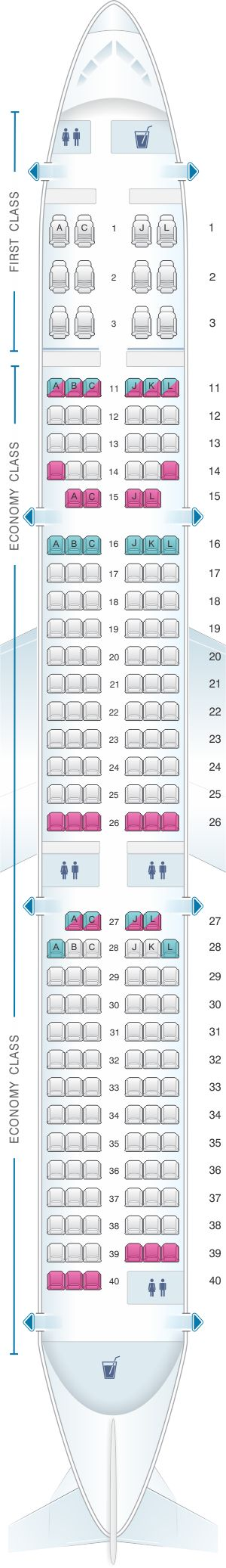 Seat Map Air China Airbus A321 200 Config. 1