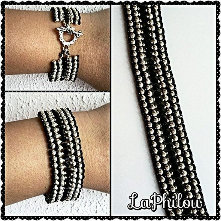 Beadwork bracelet payote Black  - LaPhilou