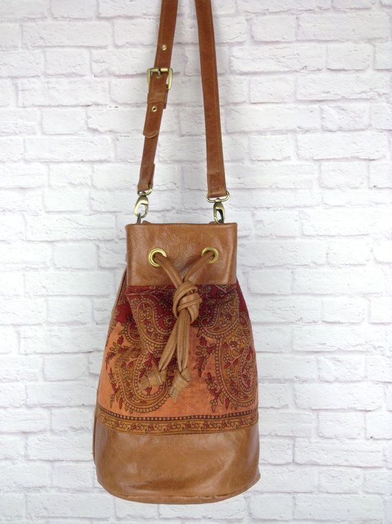 brown leather bucket bag with hand dyed paisley cotton by Wolf Blossom