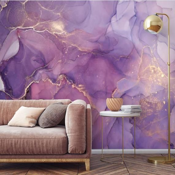Peel And Stick Purple Gold Abstract Watercolor Wallpaper Mural Removable Large Wall Mural Self Adhesive Custom Vinyl Wallpaper Accent Wall Large Wall Murals Purple And Gold Wallpaper Wallpaper Accent Wall