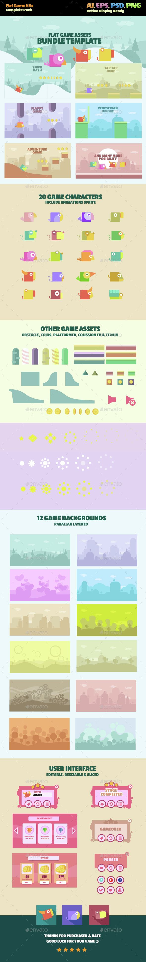 Flat Game Kit — Photoshop PSD #mobile game #2D game • Available here → https://graphicriver.net/item/flat-game-kit/14443129?ref=pxcr