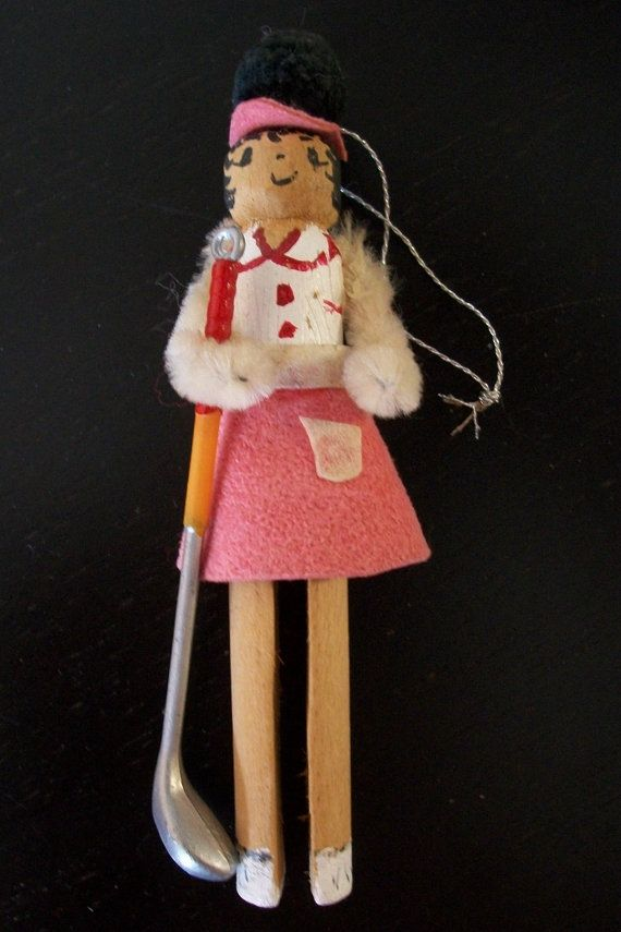 Lady Golfer Vintage Clothes Pin Ornament on Etsy, $10.00