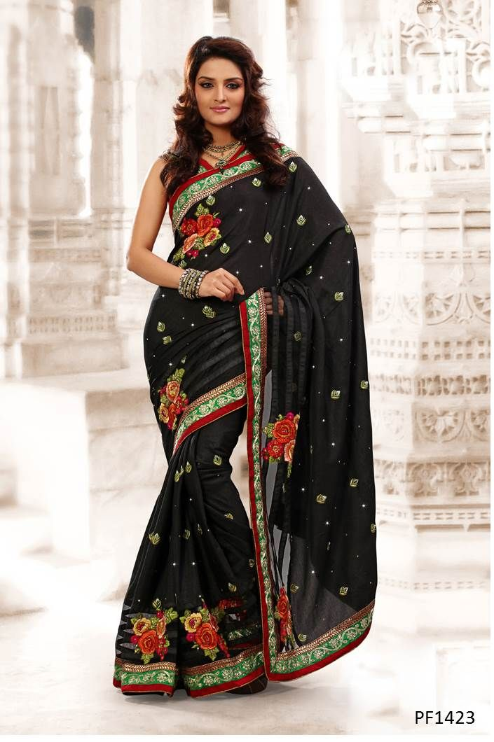 #Sarees Designer Sarees to complement your style statement. Handpicked range of extraordinary designs to choose from, on Ethnic Station. http://www.ethnicstation.com/women/sarees/black-patch-work-saree-PF1423