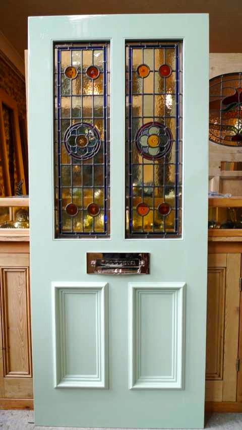 Victorian Style 2 Panel Stained Glass Front Door - Stained Glass Doors Company