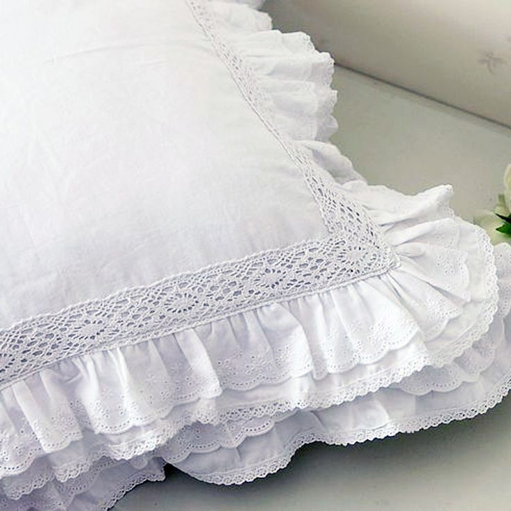Share this page with others and get 10% off! Lace Love Ruffle Cushion Cover, White
