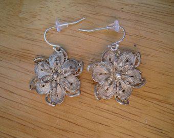 Pendientes de plata filigrana flor por cmarie59405 en Etsy