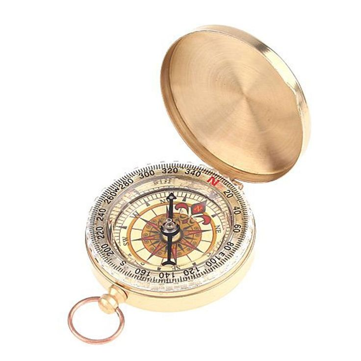 niceEshop(TM) Classical Outdoor Camping Hiking Portable Brass Pocket Compass Navigation Tool,Brassy -- You can find more details by visiting the image link.