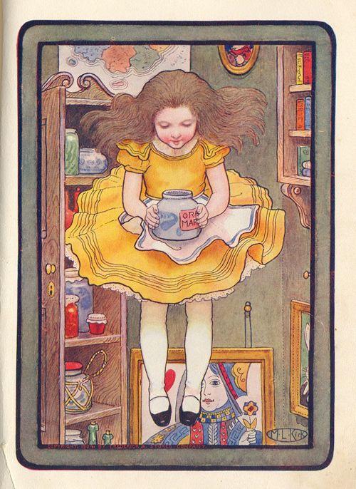 Alicia observó entonces las paredes del pozo y se dio cuenta de que estaban cubiertas de armarios y estantes con libros...