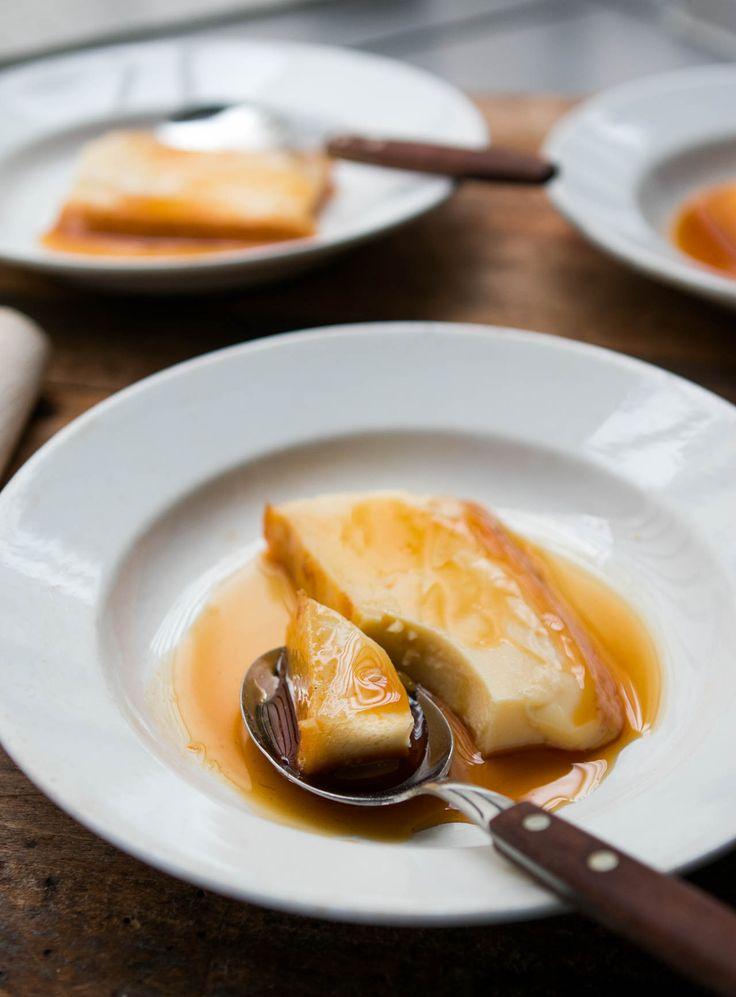Caramel Flan: The classic French custard served with dark caramel surrounding a creamy, cool custard.  via @davidlebovitz