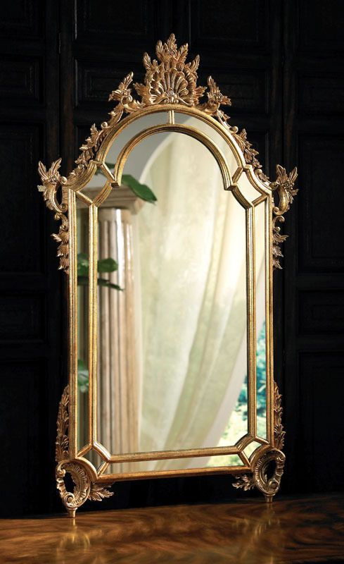La Barge 2050 Baroque Mirror with Mirrored Borders in Antique Gold Metal Leaf