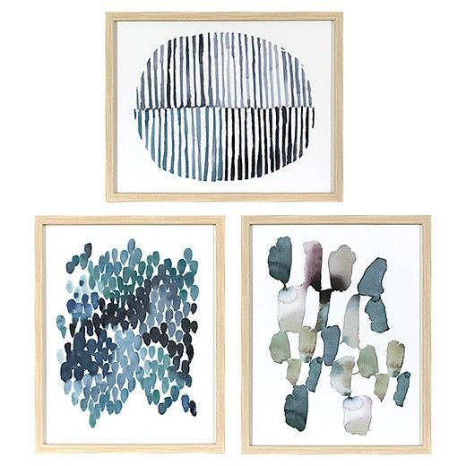 • Wood frames with a natural finish<br>• Coordinating hues<br>• Abstract style<br>• Ready to hang<br>• Set of 3 art prints<br><br>Threshold's Framed Watercolor Blue Abstracts 3-Pack bring a creative, modern touch to your wall decor with its cool colors and abstract style. Display this wall art as part of a gallery wall or on its own.