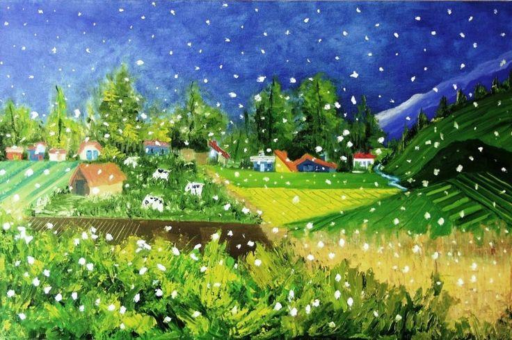 """pintura naif """"nevando""""...... òleo sobre tela"""
