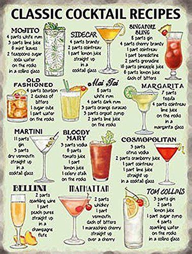 signs-unique - Cartello in metallo con ricette classiche per cocktail