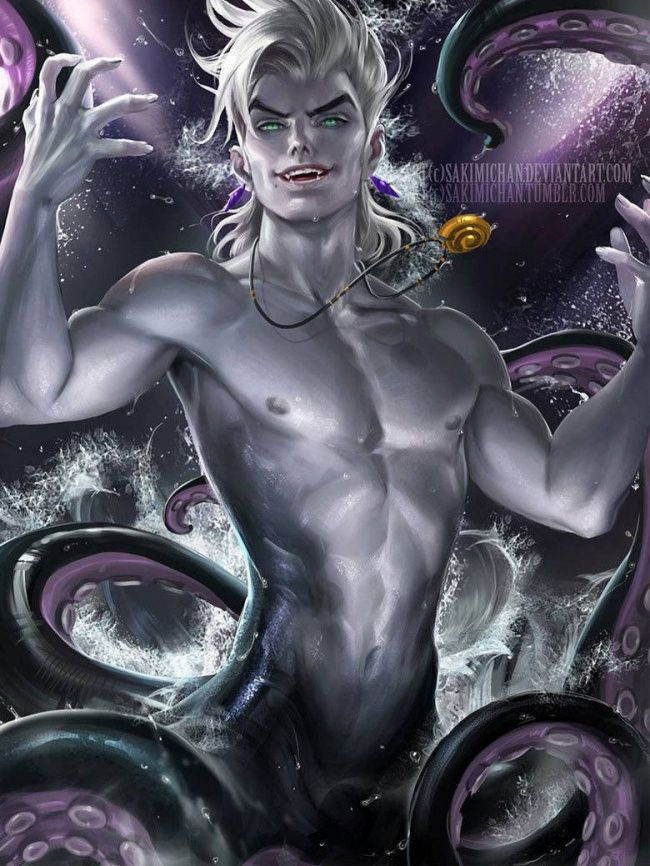 A male Ursula looks too damned good. This won't be how I'd imagine a male version of Ursula - How female Disney characters would look if they were men