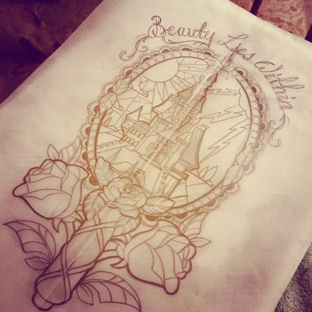 Haven't found a better tattoo then this for beauty and the beast yet. Only issue I would love for it to have chip in it somewhere and I would change the words at the top to be either tale as old as tie or the Latin seen in the stain glass window.
