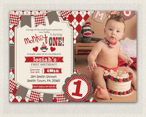 SOCK MONKEY INVITATION Boys 1st Birthday by InvitationsByLittleP