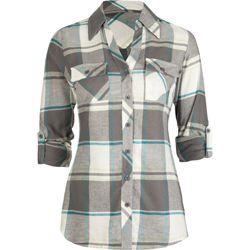 women's shirts   smock panel womens flannel shirt description  flannel shirt ...
