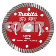 Disco Para Serra Mármore D08791Turbo - Makita Mak Fast - Disco Diamantado Turbo.     Medidas: Diâmetro 105 MM     Furo: 20 MM     Aplicação: Mármore e Granito, refrigeração a seco. www.colar.com
