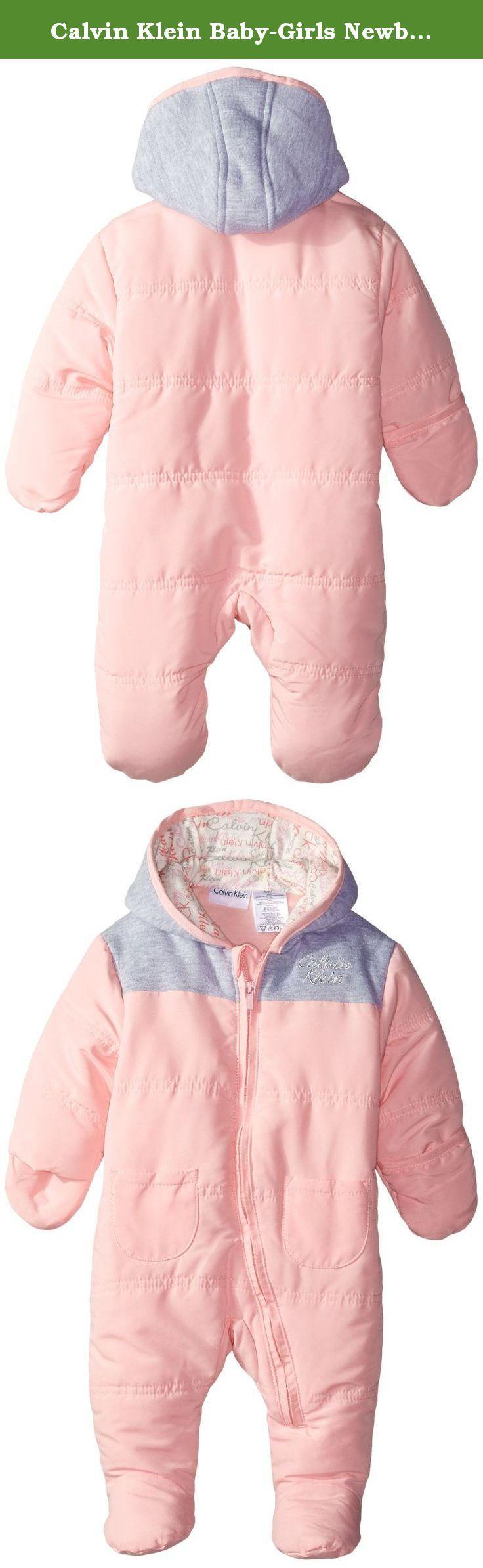 Calvin Klein Baby-Girls Newborn Hooded Gray Pink Pram, Gray/Pink, 0-3 Months. Pram.