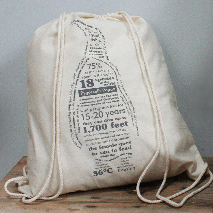 penguin facts duffel bag by susan taylor   notonthehighstreet.com
