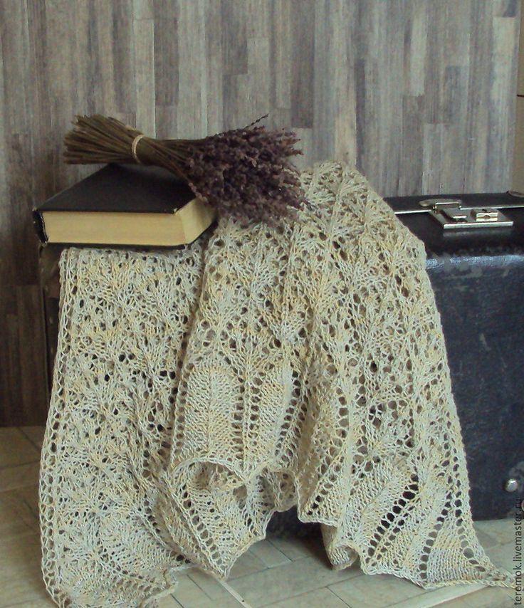 """Купить Шаль вязаная льняная """"Ретро"""" полушалок бактус платок - песочный цвет, ажурная шаль"""