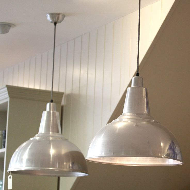 £56 Large Aluminium 'Kitchen' Ceiling Lamp.h42 D45