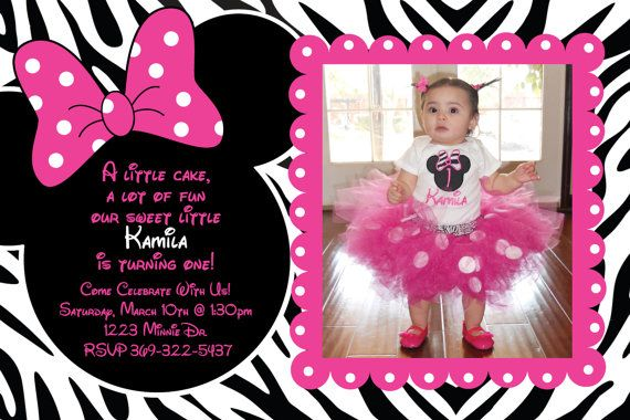 Minnie Mouse PInk and  Zebra Birthday Party Custom Invitation OR Thank you card via Etsy