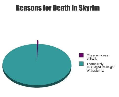 Completely accurate! Reasons for death in Skyrim: The enemy was too difficult, I misjudged the height of that jump!