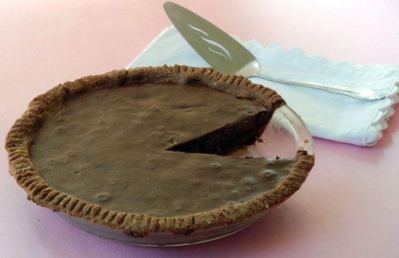 This simple and decadent chocolate mouse pie a la Silvana Nardone is gluten…
