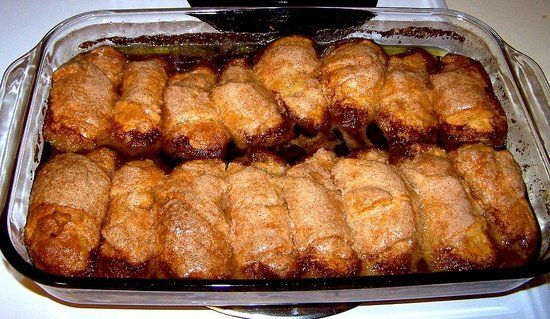 Mountain Dew Apple Cobbler or Sprite. Need; 2 granny smith apples, 2 sticks butter, 1 cup sugar, 1 cup brown sugar, 2 cans crescent rolls, 1 cup dew or sprite, 3 tbsp cinnamon. Do; cut apples into 8 slices , peeling & coring. Sprinkle each crescent roll with cinnamon & roll up sliced apple  Do all the apples & rolls Place in pan Heat butter,cinnamon,& sugars Heat to melted then pour over each roll good Pour pop around the sides of rolls. Bake 45 mins at 350. Serve with ice cream. Enjoy