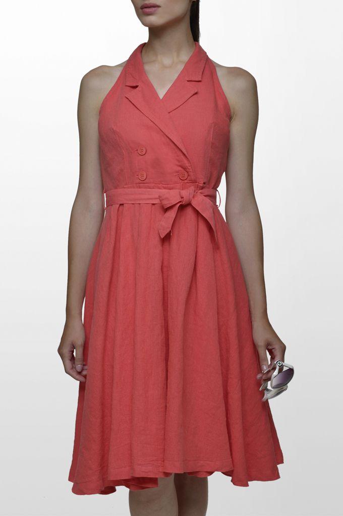 Sarah Lawrence - linen belted dress.