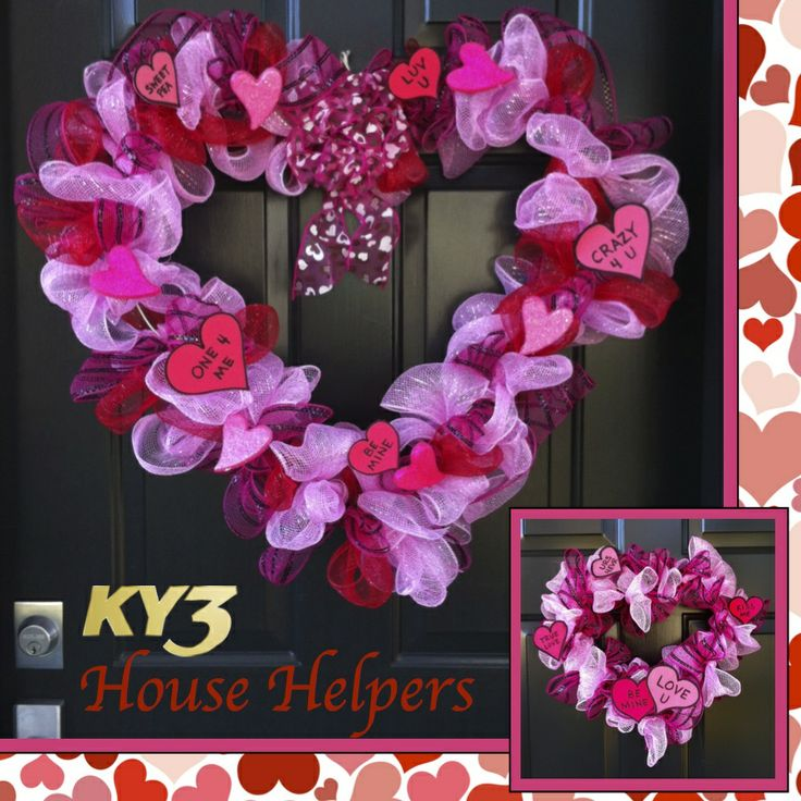 Deco Mesh Valentines Wreath Wreaths Pinterest