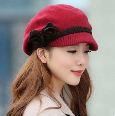 Wool beret hat for women face-lift flower winter flat cap