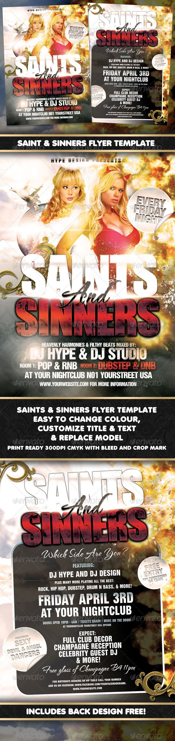 Saints & Sinners Flyer Template  #GraphicRiver         A3 flyer/poster for nightclubs/bars or events.  	 Included Back design FREE !  	 Easy to edit layers, text & the title.  	 Easy to replace model/models  	 - Print ready 300DPI CMYK with bleed and crop mark - A3 (297 × 420 with 3mm bleed) - Main Title is easily changeable. - All text easily changeable  	 Fonts used:  	 The title font: Bebas  	 Other fonts: helbalnseratdb / Helvetica neue  	 Model is Not included  	 For CUSTOM FLYER or…