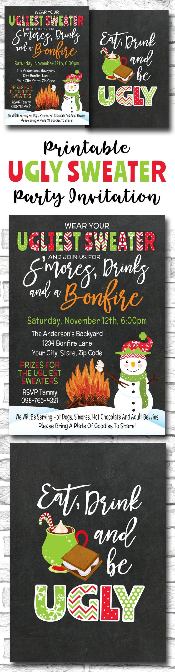 Printable Tacky Ugly Sweater Christmas Party Invitation For An Outdoor Smores And Bonfire Holiday Party, Eat Drink And Be Ugly
