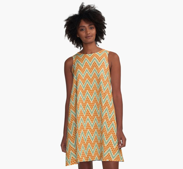 Geometric chevron pattern by LunaPrincino #lunaprincino #redbubble #print #prints #art #design #designer #graphic #clothes #for #women #apparel #shopping #dress #aline #fashion #style #pattern #chevron #zigzag #geometric #geometry #ornament #lines #dots #trendy #beige #orange #teal #turquoise