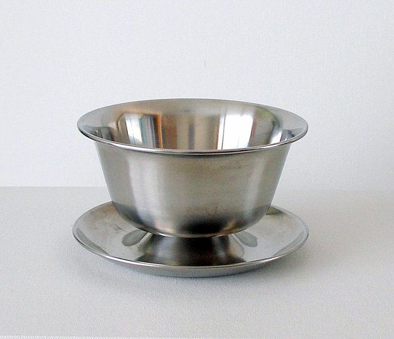 CIJ SALE Mid Century Modern Gravy Boat Vintage Stainless Steel Serving Bowl with Tray