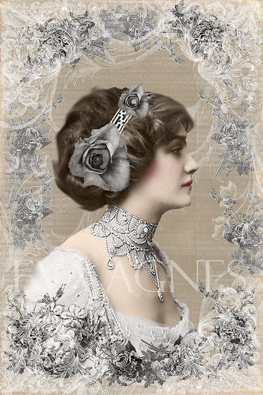 Beautiful Victorian Art in soft gray!