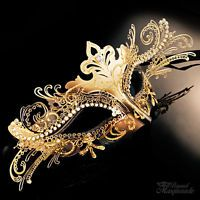 3D Laser Cut Mardi Gras Venetian Masquerade Mask for Women [Gold/Black]